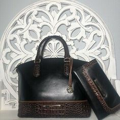 Brahmin Duxbury Satchel Black Tuscan Leather & Checkbook Wallet SET 749034224876 | eBay Brahmin Handbags, Leather Satchel, Michael Kors, Shoulder Bag, Wallet, Blue, Ebay, Brahmin Bags, Leather Briefcase