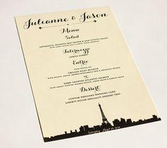 Paris Menu Cards Wedding Custom Handmade by ShannaMicheleDesigns