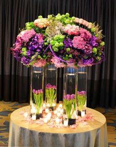 Centros de Mesas para bodas   Decoración con Colores Purpura