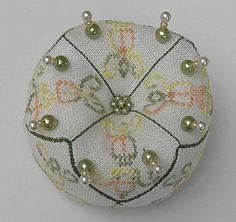 Cross stitched 6 sided biscornis pincushion~ free tutorial and pattern