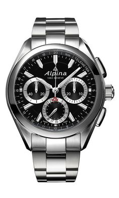 Alpina Watches Alpiner 4 Manufacture Flyback Chronograph ref. with patented in-house mechanical flyback chronograph movement. Swiss made in Geneva. Sport Watches, Cool Watches, Watches For Men, Seiko, Alpina Watches, Festina, Swiss Luxury Watches, Automatic Watch, Omega Watch