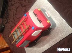 This is a Women's Weekly fire engine cake that Mummy baked but Daddy decorated - excellent effort!