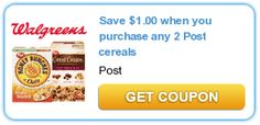 Save $1.00 when you purchase any 2 Post cereals