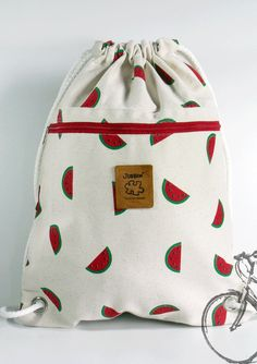 Watermelon Backpack, Canvas bag, 2 pocket inside + cotton fabric lining or waterproof fabric lining Cotton Bag, Cotton Fabric, Wet Bag, Waterproof Fabric, Cute Bags, Handmade Bags, Handmade Bracelets, Hobo Bag, Purses And Bags