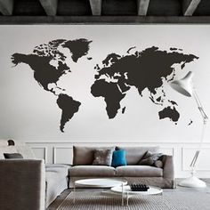 World Map Wall Decal Big Global Vinyl Office Nursery Room Home Mural Decor Large