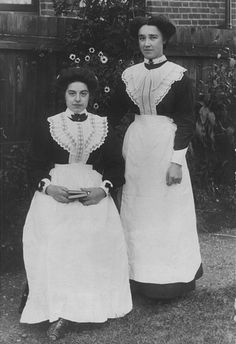1850s- With cheap cotton rolling in from India & the United States, the European service class can finally begin to approximate the dress of the leisure class.  Grand households start putting their maids in uniforms to keep the distinction of dressing differently.