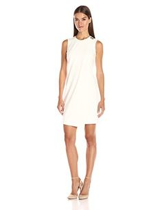 Calvin Klein Womens Sleevelss Overlay Sheath Dress Cream 6 -- Be sure to check out this awesome product.