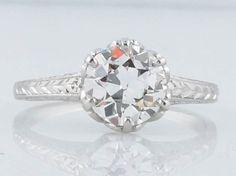 Antique Edwardian 1.32 Old European Cut Diamond Filigree Solitaire Engagement Ring in Platinum    $8,650.00