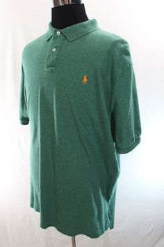 Polo Ralph Lauren Shirt Mens XXL Green Short Sleeve 100% Cotton Casual 2XL #PoloRalphLauren #PoloRugby