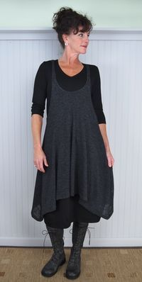 """Alembika Suduku Skirt and Cool Tunic with Victoria Boot (Tee is a model's prop) ~~ this is exactly my style -- kind of the """"minimal"""" side of mori grrl Apron Dress, Dress Up, Knot Dress, Wrap Dress, Look Fashion, Womens Fashion, Fashion 2015, Look Boho Chic, Diy Vetement"""