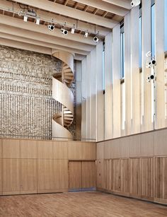 The beautiful ash clad at the award winning Storey's field community centre and nursery in Cambridge. Veneer Panels, Oak Panels, Bespoke Staircases, Timber Buildings, Timber Structure, Cedar Shingles, Spiral Staircase, Master Plan, Built Environment