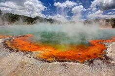 Colorful thermal pool at Wai O Tapu Park, Rotorua, New Zealand Thermal Pool, New Zealand, Country Roads, Mountains, Park, World, Places, Travel, Colors