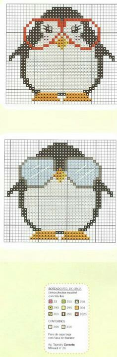 Penguins with glasses perler bead pattern