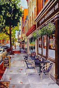 Watercolor Art Print featuring the painting Cafe Nola by Mick Williams Building Painting, City Painting, Matte Painting, Watercolor Scenery, Watercolor Landscape, Watercolor Paintings, Watercolour, Copic Drawings, Watercolor Architecture