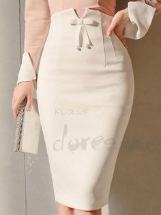 韓国ファッション膝丈タイトスカート ハイウエスト リボン スリット 美シルエット ストレッチ レディース