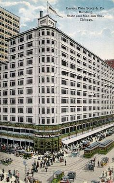 Carson Pirie Scott & Company building located at State and Madison Streets in This postcard dated Building was built in 1899 by architect Louis Sullivan. The building became a Chicago landmark Chicago River, Chicago City, Chicago Illinois, Chicago Poster, Louis Sullivan, Chicago School, Chicago Photos, My Kind Of Town, Beautiful Architecture