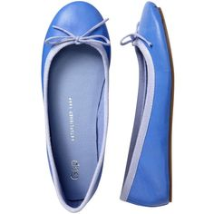 Gap Leather Ballet Flats - neon medium blue ($16) ❤ liked on Polyvore featuring shoes, flats, women, leather shoes, round toe ballet flats, ballet pumps, embellished flats i leather ballet flats