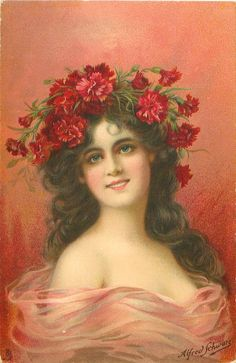 Victorian beauty, wearing a headpiece of red carnations ~ 1908