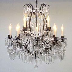 Above the Bed or in the Sitting Area - WROUGHT IRON CRYSTAL CHANDELIER LIGHTING
