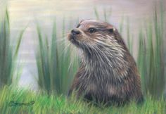 painting of otters | The Girl In The Red Dress