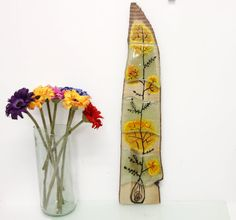 Hand Fused Glass  Painting Japanies flowers Wall by virtulyglass