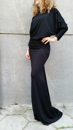 Beautiful long sleeve maxi dress with loose open back – a unique product by MD-House via en.DaWanda.com #black #elegant