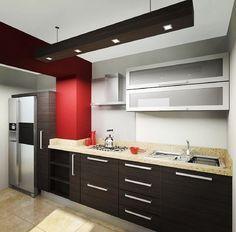 Cocina moderna, color rojo para combinar