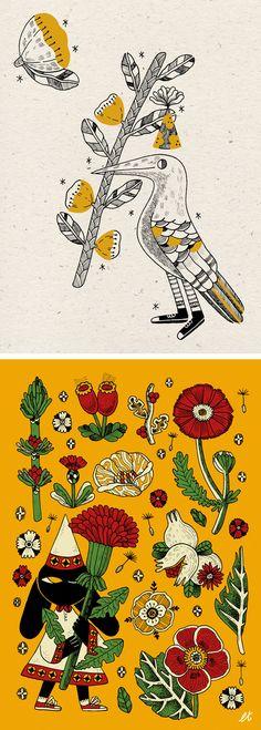 Folk art illustrations by Lia Tuia
