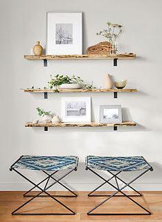 Stowe Modern Wall Shelf - Tavi Stools with Stowe Wall Shelves - Modern Entryway Furniture - Room & Board Home Decor Items, Home Decor Accessories, Diy Home Decor, Modern Entryway, Modern Wall Decor, Modern Art, Home Design, Design Ideas, Living Room Decor