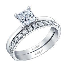 Canadian Square Princess Cut Diamond Engagement Ring with a Diamond Pave Wedding Band Pave Wedding Bands, Canadian Diamonds, Princess Cut Diamonds, Diamond Engagement Rings, Beautiful, Collection, Jewelry, Jewlery, Bijoux