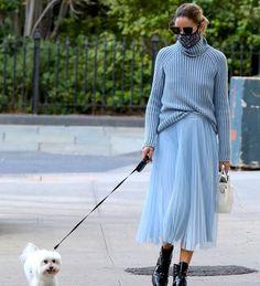 "1,611 харесвания, 14 коментара – Olivia Palermo Daily Lookbook (@olivia_palermo_lookbook) в Instagram: ""Feeling blue #oliviapalermo Check out stories for an almost identical skirt"""