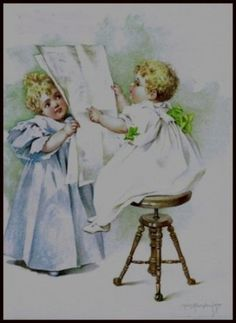 Amazon.com: The News of The Day by Maud Humphrey Art Print (Circa 1898 / 1993) , Size: 8.1/2 X 11 Inches: Home & Kitchen