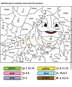 coloring pages for kids free printable numbers preschool worksheets Math Coloring Worksheets, 1st Grade Math Worksheets, First Grade Math, Free Worksheets, Grade 2, Printable Worksheets For Kids, 1st Grade Math Games, Math Addition Games, Addition And Subtraction Worksheets