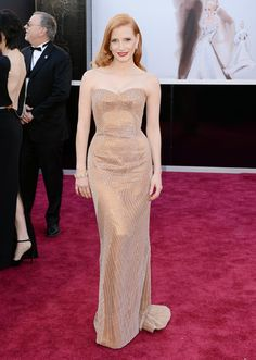 Jessica Chastain channeled Old-Hollywood glamour in a custom, nude Armani Privé gown and Harry Winston jewels.