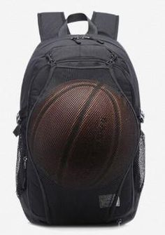 9c24c5697565 Casual Stylish Black Backpack with Basketball Pocket- Front View
