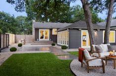 grey & white, single story/ranchero, open yard