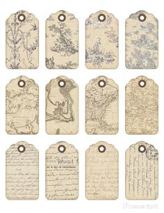 Digital Collage Sheet Printable Gift Tags Vintage por FrezeArt