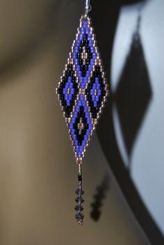 Stunning gold black purple delica seed beaded 4 plus inch hand beaded earrings. $29.95, via Etsy.