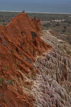 Narrow hill protruding from the wall of the canyon-like landscape, Angola   Miradouro da Lua