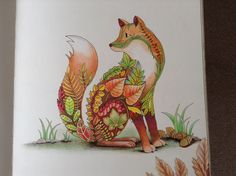Enchanted Forest by Johanna Basford. I used a mixture of Polychromos and Prismacolor pencils. I added a few acorns and leaves around the fox. Coloured by ThirtyNineSteps. Forest Coloring Pages, Colouring Pages, Coloring Books, Enchanted Forest Book, Enchanted Forest Coloring Book, Forest Pictures, Johanna Basford, Moose Art, Prismacolor
