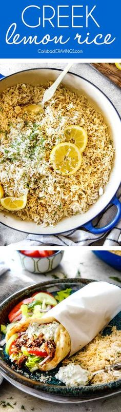 One Pot Greek Lemon Rice (stove top or rice cooker) infused with bright, fresh lemon and zippy dill and the option of butter and feta! It's wonderfully easy and so good you will be eating straight from the pot! via @carlsbadcraving