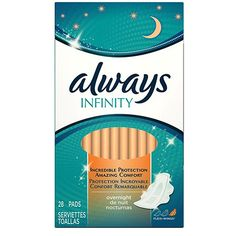 Always Infinity Overnight with Wings, Unscented Pads 28 Count