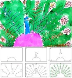 Art Projects for Kids: How to Draw a Peacock (radial symmetry)
