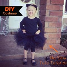 DIY Cat Costume with Tutu Tutorial - make a no-sew tutu and dress it up with black clothing and ears to create a super easy, and super cute black cat halloween costume Black Cat Halloween Costume, Homemade Halloween Costumes, Halloween Crafts, Halloween Party, Halloween Ideas, Tutu Costumes, Cool Costumes, No Sew Tutu, Diy Tutu