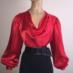 Vintage RED Shiny LIQUID SATIN Drape Neck BLOUSE Long Sleeve Charmeuse 10 M #LloydWilliams #Blouse #EveningOccasion