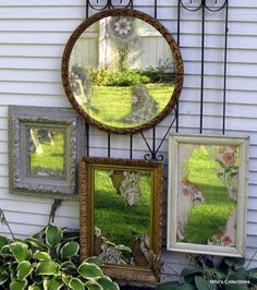 *Flea market whimsy~~ mirrors in the garden~