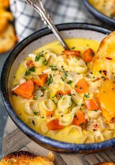 Creamy Chicken Tortilla Soup Recipe {VIDEO} - The Cookie Rookie® Chicken Macaroni Soup, Macaroni Soup Recipes, Creamy Chicken Tortilla Soup, Macaroni Cheese, Casserole Recipes, Chicken Chili, Mac And Cheese Soup Recipe, Cheddar Cheese Recipes, Pasta