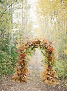 Autumn wedding arch: http://www.stylemepretty.com/montana-weddings/coram/2017/01/09/planning-a-fall-2017-wedding-heres-your-big-day-blueprint/ Photography: Rebecca Hollis - http://www.rebeccahollisphotography.com/