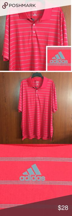 adidas Polo Mens Shirt Fitness Workout Red Gray XL New with Tag!  adidas Mens Golf Polo Shirt Size XL Puremotion Performance Red / Grey (Gray)  Stripes / Striped Athletic / Sport Polyester Retail $55  Thank you for stopping by. Please MAKE an OFFER or check out my Posh Closet for other items to BUNDLE and SAVE! adidas Shirts Polos