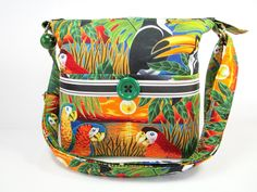 Tropical Birds Handmade Fabric Purse / Cross Body Handbag / Case for Glasses by darlingsdesigns on Etsy